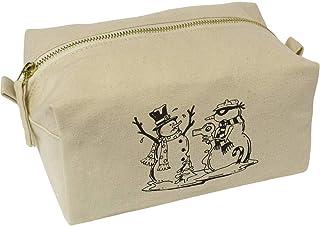 'Snowman Stick Up' Canvas Wash Bag / Makeup Case (CS00019523)