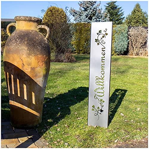 teileplus24 GS01 Willkommen Gartenstecker Gartenschild | Rost Garten Deko |3D Abkantung | 120cm x 21cm, Design:BlumenRanken