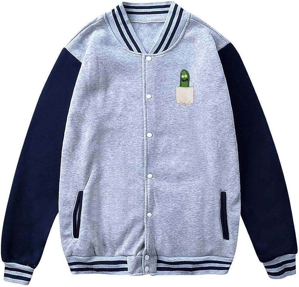 HSUZHA Mens Pickle Rick 3D Printing Fleece Varsity Jacket Baseball Cotton Jacket Letterman Jacket