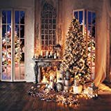 SJOLOON 10x10FT Christmas Backdrops for Photography Christmas Tree Backdrop Fireplace Backdrop for Christmas Party Decoration Banner Studio Props Photoshoot 11769