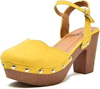 69275be7a34 Qupid Women s Farris-11 Faux Suede Studded Clog Heeled Sandals