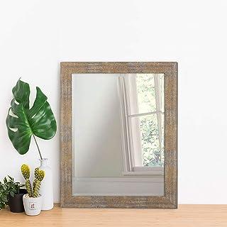 Art Street Synthetic Wood Wall Mirror (15 x 21 inch, Multicolour)