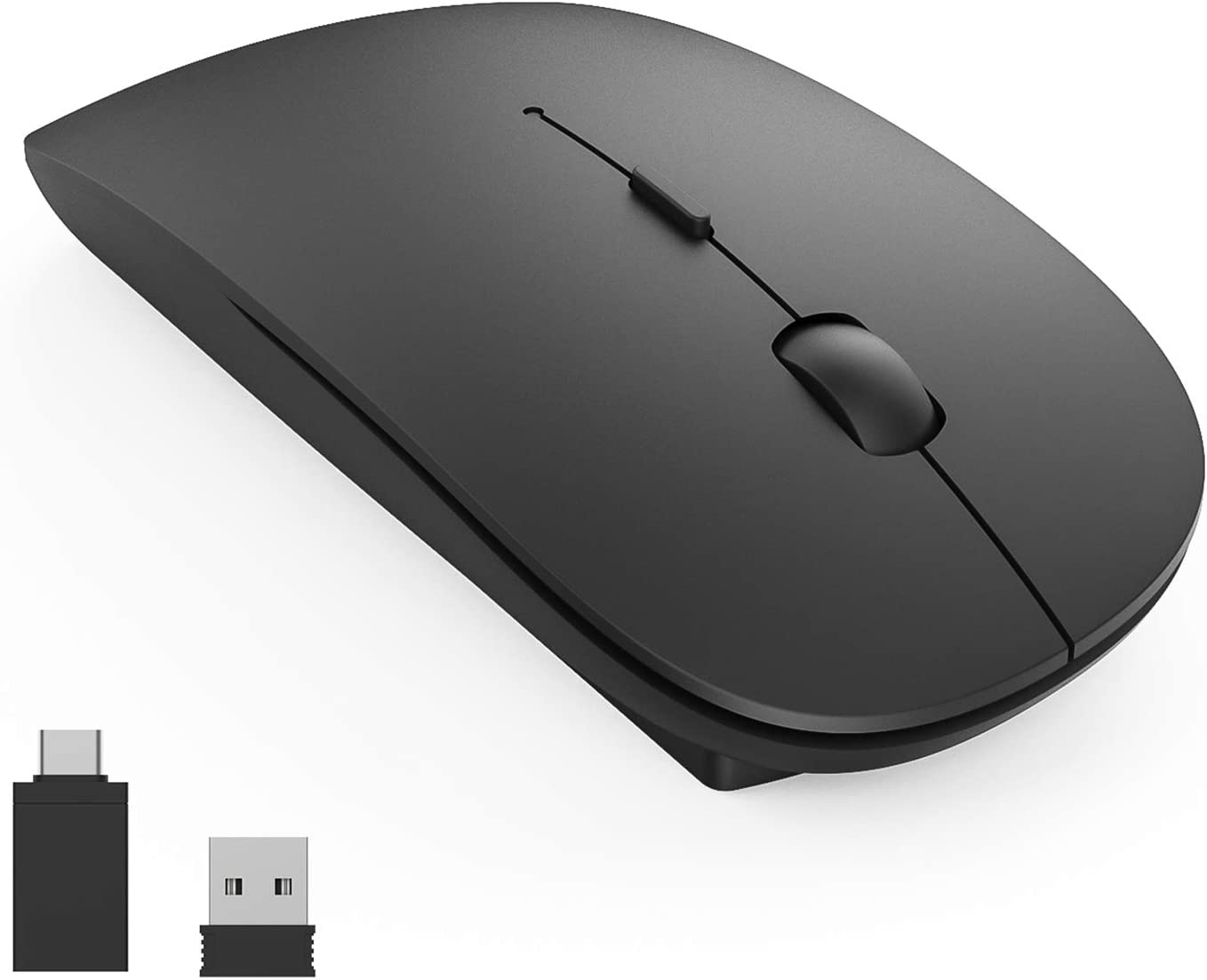 Wireless Mouse,2.4G Slim Noiseless Mouse with USB and Type-C Receiver,1600DPI Portable Cordless Computer Mouse for PC//Laptop//Mac//Desktop Matte Black