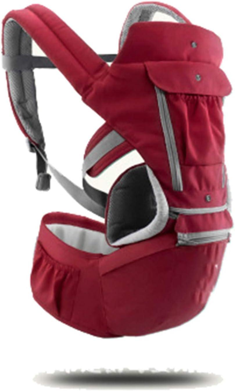 HWZZ Portabebés para Bebés Tipo De Retención Frontal Multifuncional Cuatro Estaciones Ventilación General Kid Hipseat Sling para Viajes De Bebé De 0 A 36 Meses,Rojo