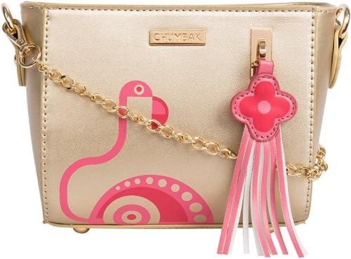 Flamingo Fantasy Bucket Sling Bag Gold