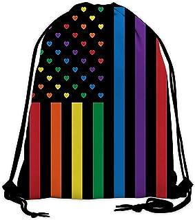 Sponsored Ad - SILITHUS LGBT Pride Drawstring Bags for Men Women Gym Bag Beam Backpack Outdoor Yoga