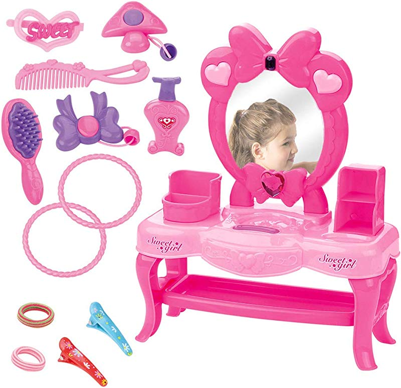 Outeck Vanity Pretend Play Dressing Table Beauty Set With Dresser Drawer Suitcase Big Mirror Hair Hoop Brushes Princess Pretend Cosmetics