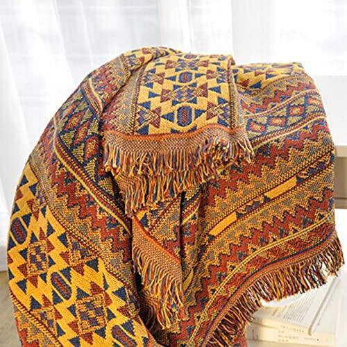Manta tejida de algodón con borlas, reversible para sofá o cama, manta de viaje, manta de viaje, manta no se descolora fácilmente