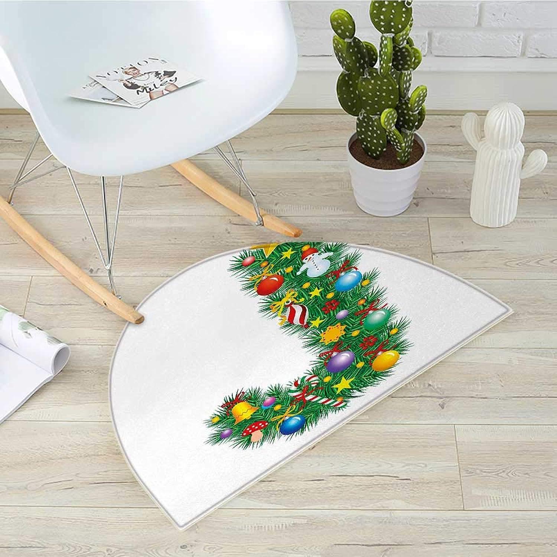 Letter J Half Round Door mats Capital J with Christmas Celebration Items colorful Balls Candy Snowman Design Bathroom Mat H 39.3  xD 59  Multicolor