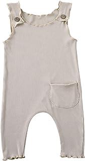 طفل رضيع فتاة الصلبة بلا أكمام بذلة الرومبير الصيف حديثي الولادة مع جيب (Color : Khaki, Kid Size : 18M)