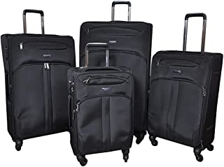 Magellan Softside spinner luggage Set of 4 pieces with TSA Lock -Black