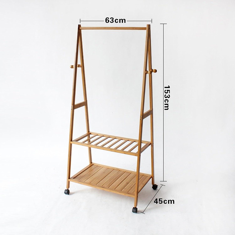 Qfgis Coat Racks Landing Hanger Bedroom Solid Wood Bamboo Simple Mobile Storage Rack Furniture (color    3, Size   63cm)