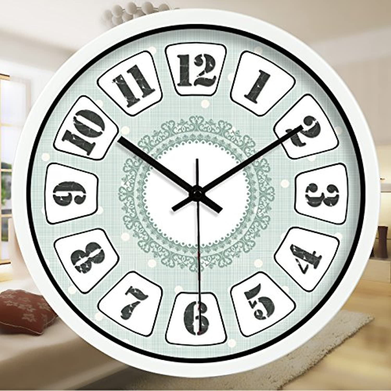 Znzbzt Simple Creative Mute Wall Clock The American Floral Wall Clock Continental Antique Living Room Restaurant is The hotel's Decor Clocks Clock Mute 214,8 , The White