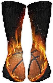 Bigtige, Calcetines clásicos de compresión Fire Basketball Black Personalized Sport Athletic 50cm Long Crew Calcetines para hombres Mujeres