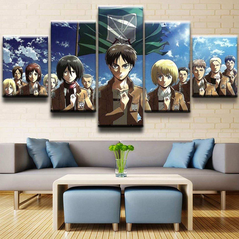 descuento de ventas KISlink Print On Canvas Attack on Titan Anime Anime Anime Print Pintura 5 Piezas Imagen de Arte de Parojo Decoración del hogar Lienzo para Sala de EEstrella, A, 20 Veces, 35 Veces, 220 Veces, 45 Veces, 220 Veces, 55  entrega gratis