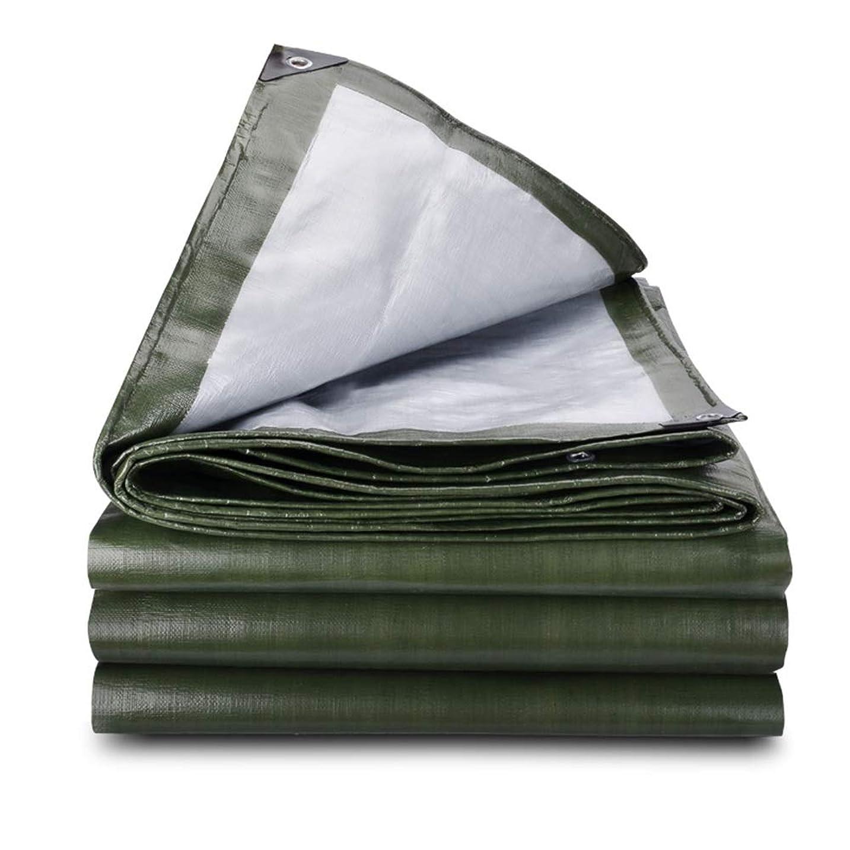 戦術赤字祈るHPLL 多目的防水シート 厚く軍の緑銀製の防水布、雨の日陰の屋外の防水シートの二重層の抵抗力があるPEの防水シートをカバーするトラックの三輪車 防水シートのプラスチック布,防雨布 (Size : 3m×4m)