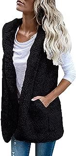 Womens Puffer Vest Winter Warm Plush Hoodie Outwear Casual Coat Faux Fur Zip Up Sherpa