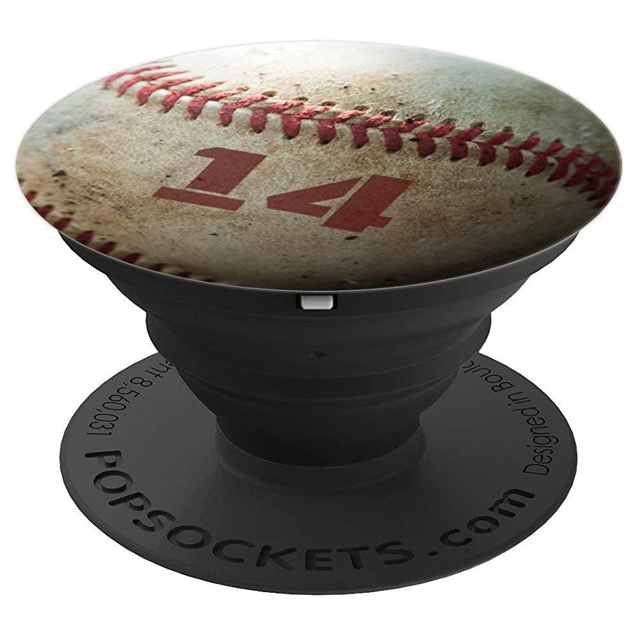 Baseball Player #14 Jersey Number 14 Gift for Boys Men Girls - PopSockets Grip and Stand for Phones and Tablets