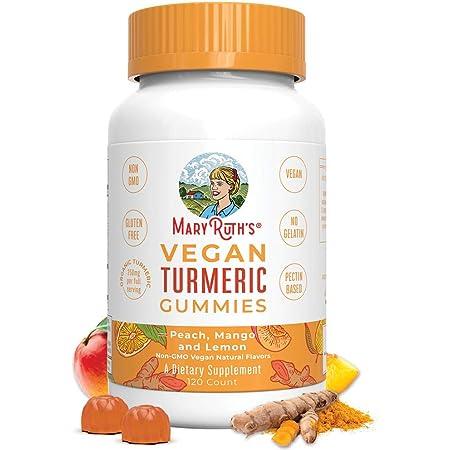 Vegan Turmeric Gummies by MaryRuth's - Organic Turmeric Curcumin Extract - Chewable - Non-GMO - Peach, Mango & Lemon - 250 mg per Serving - 120 Count
