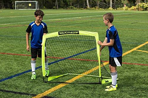 "Franklin Sports Blackhawk Portable Soccer Goal - Pop-Up Soccer Goal and Net - Indoor or Outdoor Soccer Goal - Goal Folds For Storage - 12'x6', 9'x5.6', 6.5'x3.25"" or 4'x3' Soccer Goal"