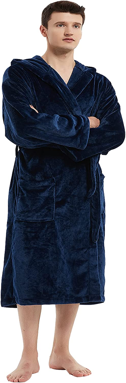 ESSENJUN Men Plush Fleece Robe,Long Warm Bathrobe,Mens Fleece Hooded Bathrobe,Black Hooded Bathrobe Men ,Dark Blue Robe Men