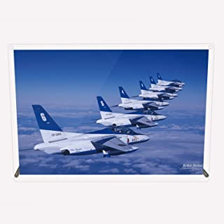 CuVery アクリル プレート 写真 航空自衛隊 ブルーインパルス T-4 編隊飛行 デザイン スタンド 壁掛け 両用 A4サイズ...