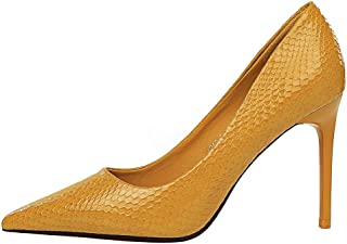 TAOFFEN Women Fashion Stiletto Court Shoes Slip On Pointed Toe