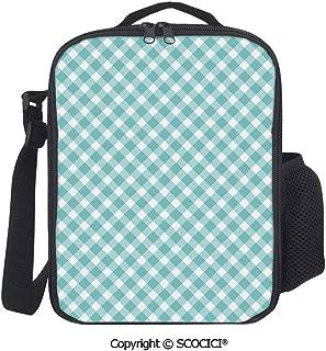 UHOO Retro Vintage Gingham Pop Art Style Lovers Spring Summer Inspired Artwork Insulated Lunch Box with Adjustable Shoulder Strap,Water-Resistant Leakproof Cooler Bag for Work Picnic