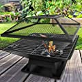 Fiay Outdoor Garden Fire Pit Firepit Brazier Square Stove Patio Heater W Bbq Grill from FiNeWaY
