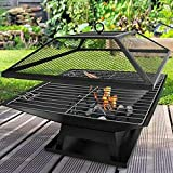 FiNeWaY@ Outdoor Garden FIRE Pit FIREPIT Brazier Square Stove Patio Heater W BBQ Grill