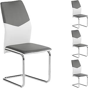 IDIMEX Lot de 4 chaises de Salle à Manger Leona piètement chromé revêtement synthétique Bicolore Blanc et Gris