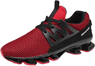 GOMNEAR Mens Running Shoes Breathable Mesh Lace-up Springblade Casual Fashion Athletic Walking Big Size Sneakers