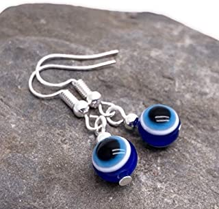 EVIL EYE Earrings - 8mm Dark Blue Resin Beads on Silver Tone Nickel Free Hooks - 32mm