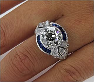 Vera Wang Love Ring Vintage 1.52ct Lab Diamond Ring Blue Sapphire 925 Sterling Silver Engagement Wedding Women Ring,All US Size 4 to 12 Available,Message Your Ring Size