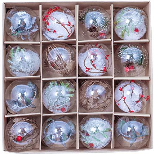 Valery Madelyn Palle di Natale 16 Pezzi 8cm Palline di Natale, Collezione Classica Rosso Verde e Bianco Trasparente Infrangibile Palla di Natale Ornamenti Decorazione per la Decorazione