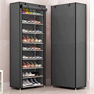 Sasimo Multipurpose Portable Folding Shoes Rack 9 Tiers Multi-Purpose Shoe Storage Organizer Cabinet Tower with Iron and N...