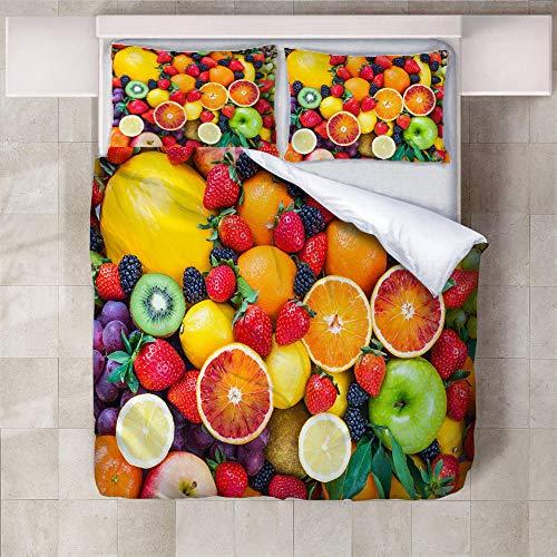 IXGMI 3D Digital Print Bedding,Fruit,Duvet Cover Set 3pcs Bedding Set with Zipper Closure, Ultra Soft Microfiber Quilt Cover Set 135x220cm