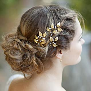 Artio Leaf Wedding Hair Pins Accessories with Beads for Brides and Bridesmaids 3 PCS (HP-9558)