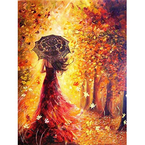 MXJSUA DIY 5D Diamond Painting Full Square Drill Kits Rhinestone Picture Art Craft Home Wall Decor 12x16In Autumn Beautiful Woman