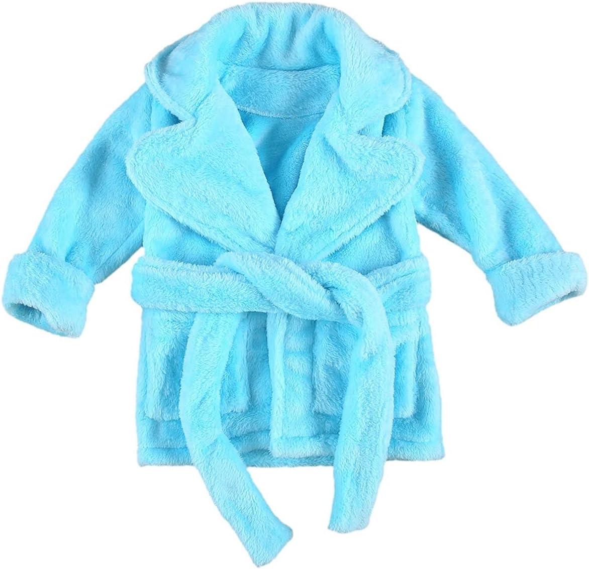 Winter Hooded Children Bathrobe, Kids Fuzzy Bath Robe, Boys Girls Animal Pyjamas, Kids Long Sleeve Cartoon Towel Robe (Color : Blue, Kid Size : 3years)