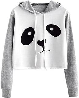 comprar comparacion VJGOAL Mujeres otoño Moda Casual Dibujos Animados Lindo Panda Imprimir Costura Color sólido Sudadera Blusa de Manga Larga ...