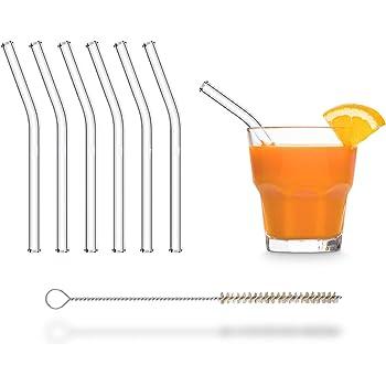Pajitas de cristal reutilizables, 6 unidades, cortas, 15 cm + cepillo de limpieza sin plástico, aptas para lavavajillas, sostenibles, pajitas de cristal para vasos de cóctel