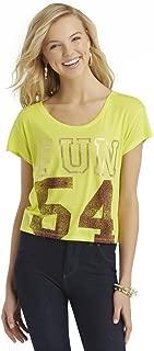 Junior's Graphic Varsity Football Cutoff T Shirt, yellow, Large