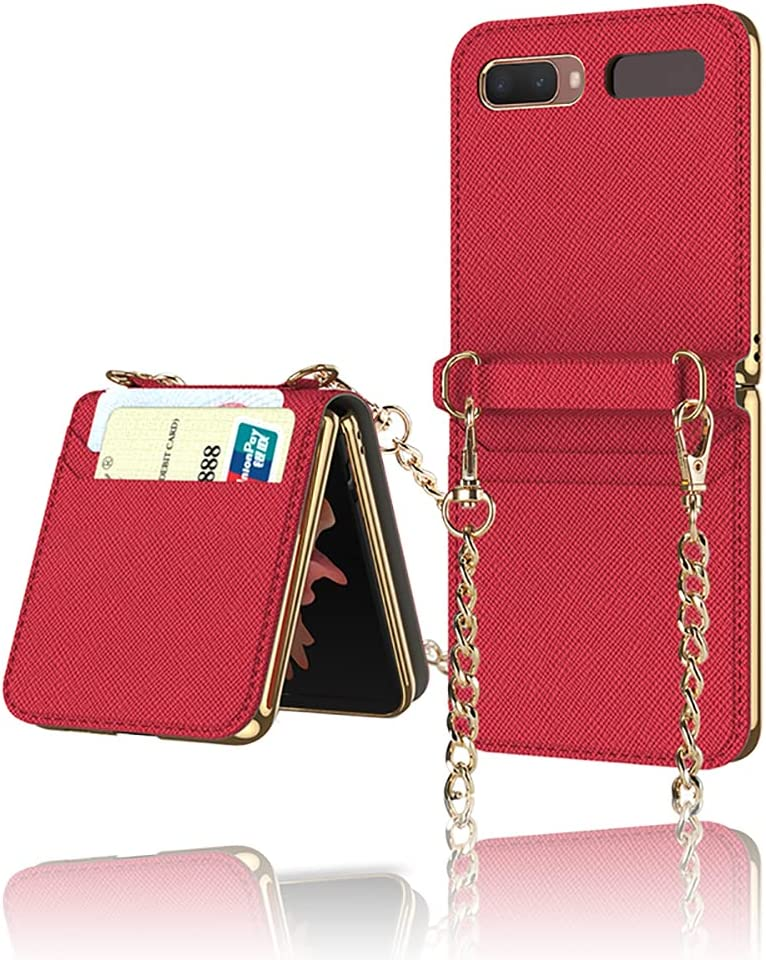 Yatchen Leather Case Designs Samsung Galaxy Z Flip,Cute Luxury Card Package with Metal Chain for Women Makeup Mirror Magnetic Flip Protector for Galaxy Z Flip 5G (Red)