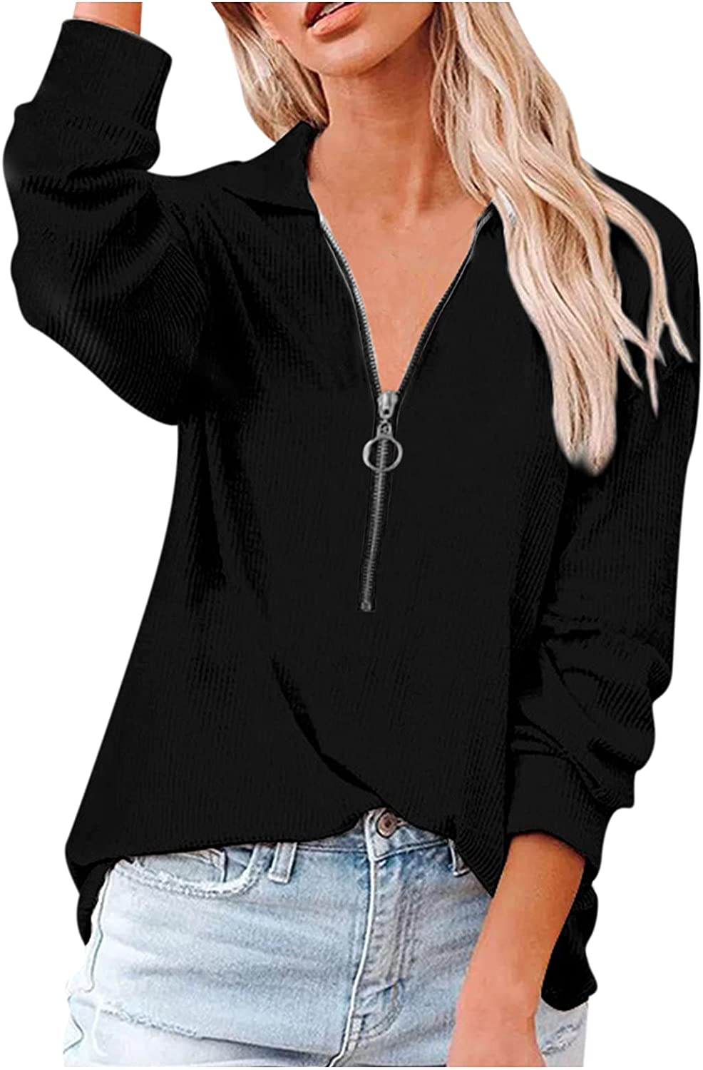 T-Shirts for Women Discount Ranking TOP17 is also underway Lapel Long Sleeve V Sweatshi Sexy Zipper Neck