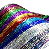 Image of PINKAGE Glitter Hair Tinsel Strands 12 Colors SET, Colored Party and Festival Highlight Sparkling Hair Extensions