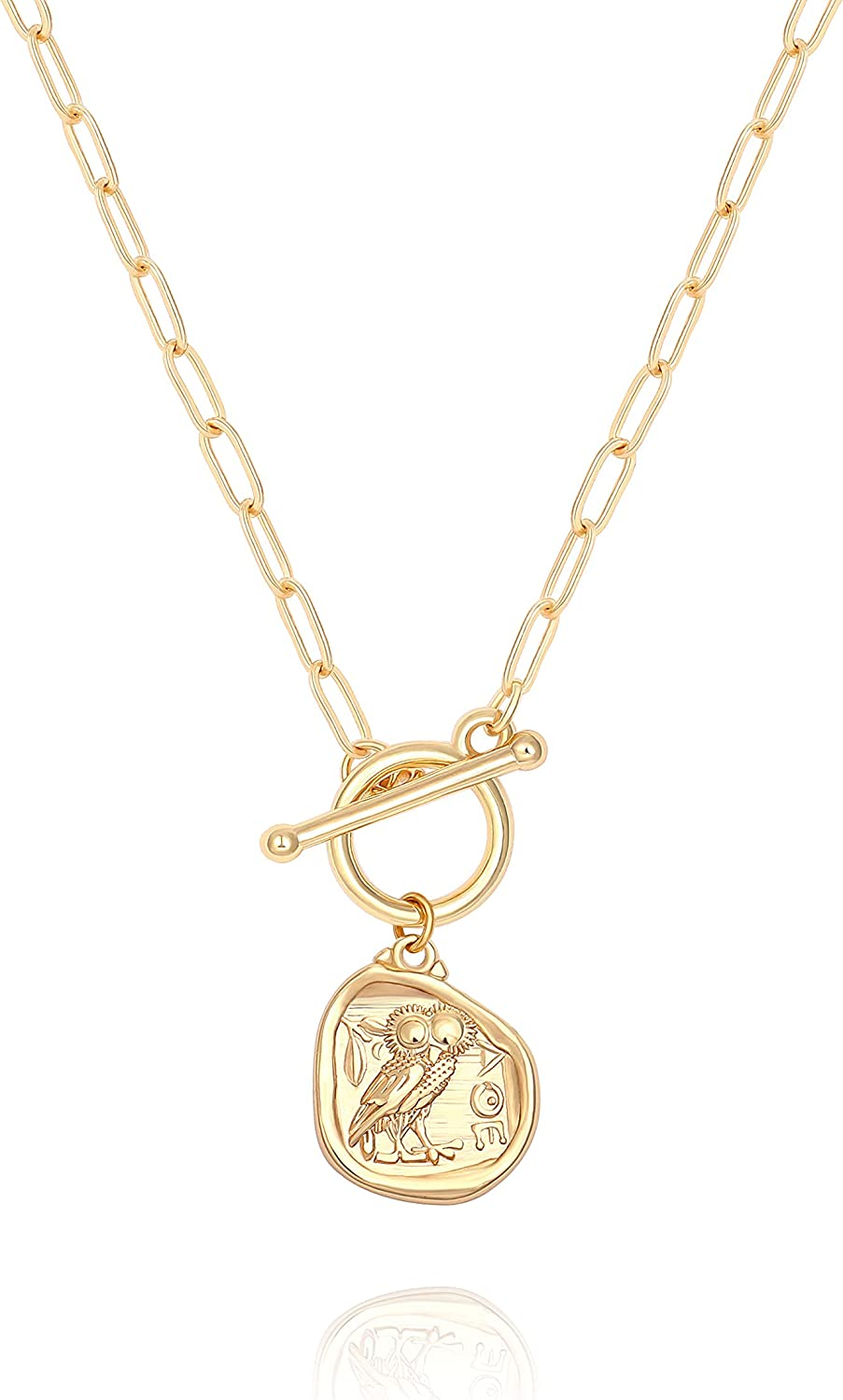18K Gold Owl Bee Pendant Cross Necklace for Women Dainty Evil Eye Compass Medallion Link Chain Toggle Necklace for Women
