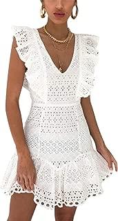 DEEBAI Women's Elegant V Neck Lace Sleeveless Hollow Out Ruffle High Waist A-line Summer Mini Dress