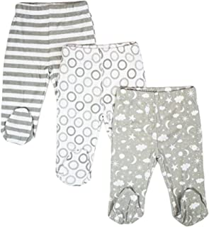 Spasilk Baby Boys' 3 Pack Cotton Footed Pants