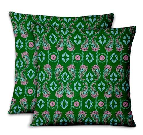 S4Sassy Vert Popeline de Coton Paisley & taies d'oreiller chambre'coucher Design Housse de Coussin Jeter pour la Maison 2pièces-18 x 18 Pouces